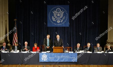 "The Sept. 11 commission takes part in its final public hearing on in Washington. Left to right are: commissioners James Thompson, Timothy Roemer, Slade Gorton, Jamie Gorelick, Chairman Thomas Kean, Vice Chairman Lee Hamilton, commissioners Fred Fielding, Bob Kerrey, John Lehman and Richard Ben-Veniste. The report concludes that a ""failure of imagination,"" not government neglect, allowed 19 hijackers to carry the deadlist terrorist attacks in U.S. history"