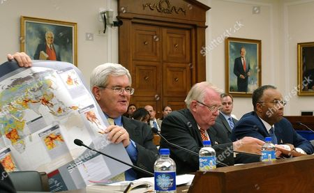 GINGRICH MEESE THOMPSON Former House Speaker Newt Gingrich, left, appears before the House Select Intelligence Committee on Capitol Hill . Former Attorney General Edwin Meese is seen at center and former Deputy Attorney General Larry Thompson, is seen at right. At the committee hearing, the leaders of the Sept. 11 Commission encountered skepticism from some House members who urged careful study before creating a director of national intelligence, a White House post they believe could become too politicized
