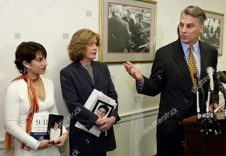 September 11 Commission member Timothy Roemer, right, gestures towards 9/11 Steering Committee members Carie Lemack, left, and Mary Fetchet, center, during a press conference on in Washington. The committee spoke out on what they say is government inaction to pass the intelligence reform bill. Lemack lost her mother Judy Larocque in the World Trade Center, and Fetchet lost her son Brad in the World Trade Center