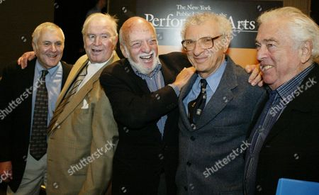 """From left to right stand John Kander, left, composer; Fred Ebb lyricist; Harold Prince; Sheldon Harnick, lyricist;and Jerry Bock, composer at a press conference in New York, . Kander and Ebb worked on the """"Cabaret"""" and """"Chicago"""" productions and Harnick and Bock did """"Fiddler on the Roof"""" for Broadway"""