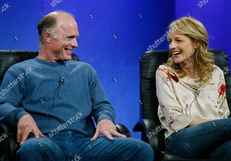 "Actors Ed Harris and Helen Hunt laugh during the presentation of the upcoming HBO's film ""Empire Falls,"" at the Television Critics Association Winter Press Tour at the Universal Hilton Hotel in Universal City, Calif., . ""Empire Falls"" is a two-part miniseries adapted by Richard Russo from his own Pulitzer Prize-winning novel by the same name"