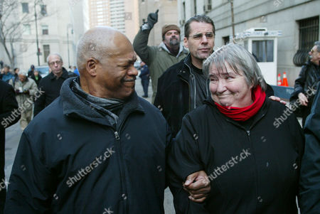 Stock Picture of POINTER STEWART Attorney Lynn Stewart smiles at her husband Ralph Pointer, left, as she leaves Federal Court in Manhattan New York after she was convicted on all five charges regarding aiding terrorism, assisting terrorism and making false statements