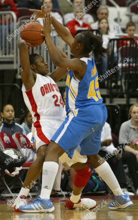 QUINN ALLEN UCLA's Noelle Quinn (45) guards Ohio State's Ashley Allen (24) during the first half of their game in Columbus, Ohio