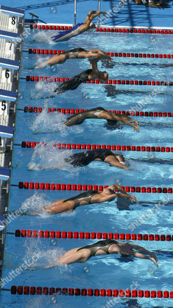 MEISSNER Swimmers from bottom, Maureen Farrell, Kristen Caverly, Margaret Hoelzer, Hayley McGregory, Pamela Hanson, Erin Volcan, and Erica Meissner leap into the pool at the start of the Women's 200 meter backstroke at the U.S. Olympic swim trials in Long Beach, Calif., . Hoelzer won the event with a time of 2:11.88