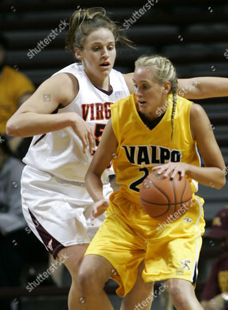 STANGLER GIBSON Valpariso forward Jenna Stangler, right, drives against Virginia Tech forward Erin Gibson, left, during the first half in Minneapolis, . Stangler had a team-high 21 points and Gibson had a game-high 25 points as Virginia Tech won, 64-57