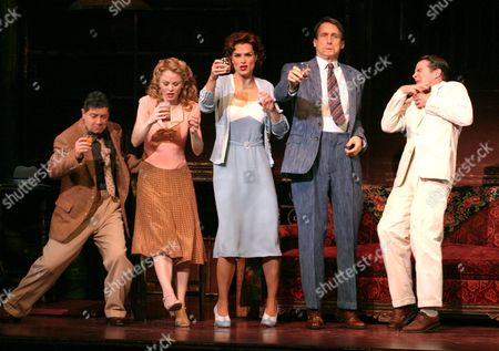 """Raising their glasses during a scene in the Broadway musical """"Wonderful Town"""" are, from left, Michael McGrath, Jennifer Hope Wills, Brooke Shields, George Edelman and Peter Benson at the Al Hirschfeld Theatre in New York . Shields stars in the role of Ruth Sherwood"""