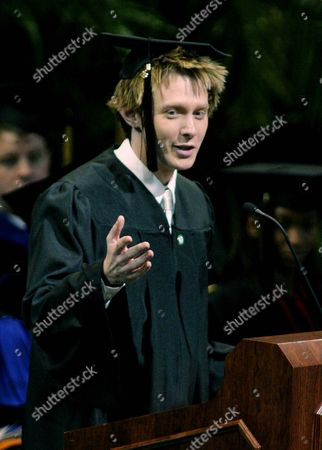 "AIKEN Clay Aiken addresses fellow graduates during commencement ceremonies at the University of North Carolina at Charlotte . Aiken gained fame after his second-place finish in the hit television series ""American Idol."" He received his bachelor of arts degree in special education during the ceremony"