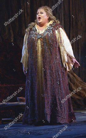 "Soprano Deborah Voigt performs during a dress rehearsal of ""Die Walkure"" at the Metropolitan Opera in New York, on"