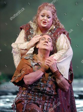 """Placido Domingo, 63, performs in the role of Siegmund with Deborah Voigt as Sieglinde during the Metropolitan Opera's dress rehearsal of Richard Wagner's five-hour musical marathon, """"Die Walkure,"""" at New York's Lincoln Center"""