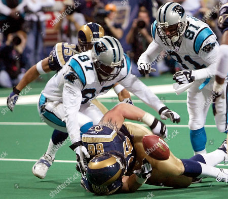 WILLIAMS Carolina Panthers' Mushin Muhammad (87) and Ricky Proehl (81) scramble for the loose ball with St. Louis Rams Brian Young (66) and Aeneas Williams (35) in the second quarter of the NFC semifinal game in St. Louis. Muhammad recovered the ball in the end zone for a touchdown
