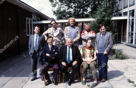 standing (L-R) Gavin Richards , Granville Saxton , Duncan Preston , Tony Haygarth and Nick Wilton. seated (L-R) Roger Sloman , Roy Kinnear and Pam Ferris in 'Hardwicke House' - 1987