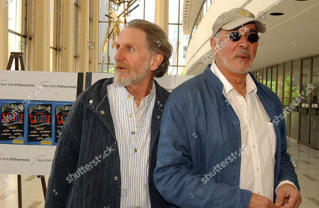 """Actors Rene Auberjonois, left, and Frank Langella arrive for the invitation only dress rehearsal of the New York Philharmonic's presentation of """"Candide"""" the musical, at the Lincoln Center in New York on"""