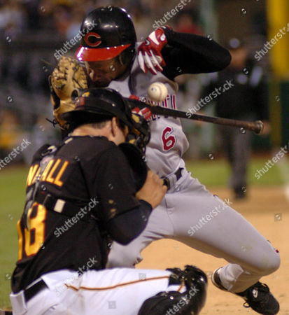 FREEL Cincinnati Reds' Ryan Freel is hit in the helmet by a ninth-inning pitch from Pittsburgh Pirates pitcher Jason Boyd, as catcher Jason Kendall looks for the ball. Freel left the game and the Reds went on to beat the Pirates 9-7