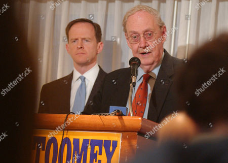 Stock Image of TOOMEY, BORK Former federal appeals judge Robert H Bork, right, offers his endorsement of U.S. Senate hopeful Rep. Pat Toomey R-Pa., left, during a news conference in Pittsburgh, . Toomey seeks to oust incumbent Sen. Arlen Specter, R-Pa., in Pennsylvania's Republican primary, April 27