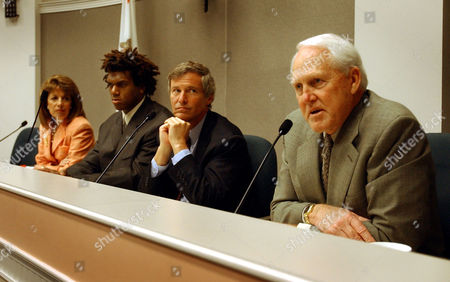STEINBERG Former San Francisco 49er's coach Bill Walsh, right, talks about the dangers of steroid use by high school athletes during a news conference at the Capitol in Sacramento, Calif., on . Walsh is at the Capitol to testify at the Senate Select Committee on Government Oversight chaired by Sen. Jackie Speier, D-San Francisco, far left. Also testifying are 49er's Kwame Harris, and sports agent Leigh Steinberg, left to right