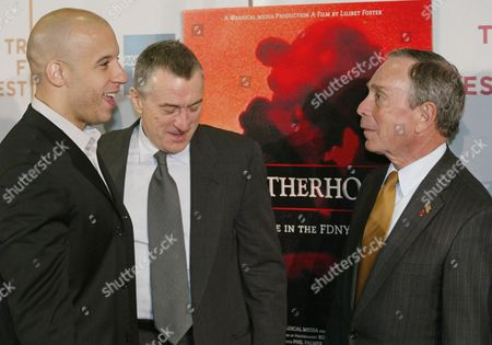 """Stock Image of DIESEL Actors Vin Diesel, left, and Robert De Niro, center, are shown with New York City Mayor Michael Bloomberg at the red carpet arrivals for the film """"Brotherhood,"""" which opened tonight at the 2004 Tribeca Film Festival in New York, . Directed by Lilibet Foster, """"Brotherhood"""" is a documentary that gives an insider point of view of the Fire Department of New York"""