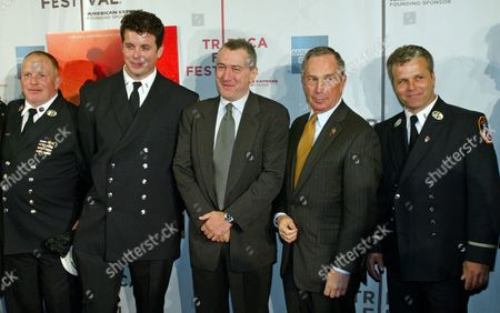"""FLAHERTY Posing for photographers, from left to right, New York City firefighters Bob Chuisano and William Flaherty, actor Robert De Niro, New York City Mayor Michael Bloomberg and New York City firefighter Glen Berube, at the red carpet arrivals for the film """"Brotherhood,"""" which opened tonight at the 2004 Tribeca Film Festival in New York, . Directed by Lilibet Foster, """"Brotherhood"""" is a documentary that gives an insiders point of view of the Fire Department of New York"""