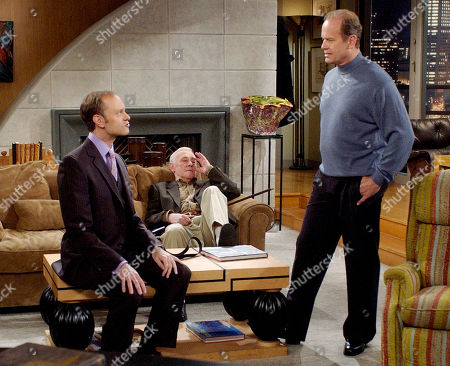"GRAMMER MAHONEY PIERCE Series star Kelsey Grammer, right, as Dr. Frasier Crane, talks with co-stars David Hyde Pierce as his brother Niles Crane, during filming of the final episode of ""Frasier"" on a set at Paramount Studios in Los Angeles . The final episode in the NBC series, titled ""Good Night, Seattle,"" is scheduled to air May 13"