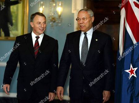 Stock Image of POWELL GOFF Secretary of State Colin Powell, right, welcomes New Zealand Minister of Foreign Affairs and Trade Philip Goff, before the start of their meeting at the State Department, in Washington