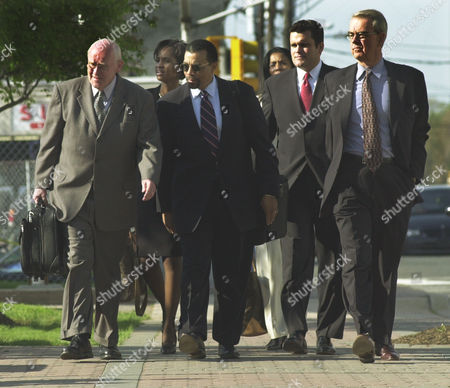 WILLIAMS Jayson Williams' defense team, from left, attorneys Michael Kelly, Shawn Wright and Billy Martin, spokeswoman, Judy Smith, and attorneys Chris Adams and Joseph A. Hayden Jr. arrive at the Somerset County Courthouse in Somerville, N.J., for the fourth day of jury deliberations in Williams' manslaughter trial, . Williams is on trial for the shotgun shooting and killing of driver Costas Christofi at Williams' estate in Alexandria Township, N.J., Feb. 14, 2002