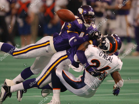 BREWER ONEAL WILLIAMS Minnesota Vikings' Jack Brewer, left, and Brian Williams between hit Denver Broncos punt returner Deltha O'Neal, right, after O'Neal called for a fair catch in the third quarter in Minneapolis. Williams was charged with fair catch interference and the team penalized 15 yards