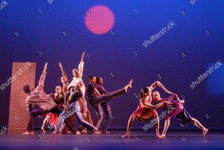 "Members of the Garth Fagan Dance company perform ""DANCECOLLAGEFORROMIE,"" a tribute to visual artist Romare Bearden, during a dress rehearsal at the Joyce Theater, in New York. The three-part work, which had its world premiere Tuesday night, shoots from Shostakovich to Villa-Lobos to Jelly Roll Morton"