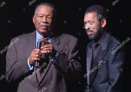HINES Maurice Hines Sr., father of Gregory hines speaks as Maurice Hines Jr. looks on during a memeorial celebration honoring the artistic legacy of Gregory Hines at New York's Apollo Theater. Gregory Hines died at age 57