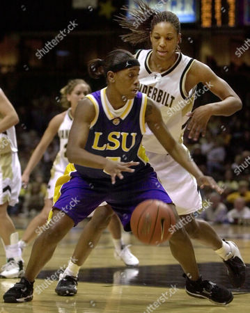 Stock Photo of ANDERSON HODGES Vanderbilt's Chantelle Anderson, right, guards LSU's Roneeka Hodges, center, in the second half of Vanderbilt's 72-60 upset win on in Nashville, Tenn. Anderson led Vanderbilt with 24 points