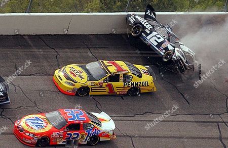 NEWMAN PARK CRAVEN NASCAR driver Ryan Newman (12) of South Bend, Ind., tumbles through Turn 1 of the Talladega Superspeedway in Talladega, Ala., on the third lap of the Aaron's 499 race . Getting by safely is Steve Park (1) and Ricky Craven (32). At least 15 cars were involved in the wreck