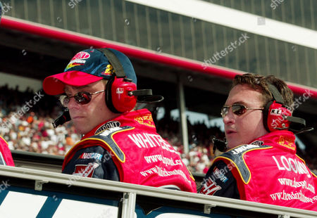 WHITESELL LOOMIS Brian Whitesell, left, and Robbie Loomis sit atop the pit box during the Food City 500 at Bristol Motor Speedway in Bristol TN. Whitesell is team manager for NASCAR Winston Cup drivers Jeff Gordon and Jimmie Johnson. Loomis is Gordon's crew chief