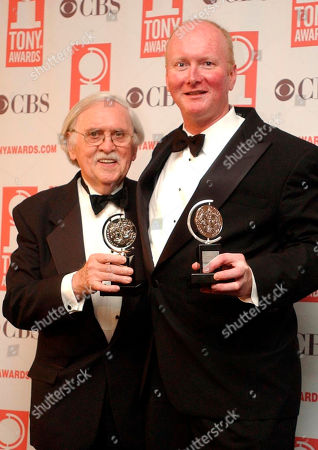 "Thomas Meehan, left, and Mark O'Donnell pose with their Tony awards for best book of a Musical for ""Hairspray"" during the 57th Annual Tony Awards at New York's Radio City Music Hall. O'Donnell, behind such quirky and clever Broadway shows as ""Hairspray and ""Cry-Baby,"" died . He was 58"