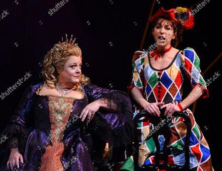 "VOIGT DESSAY Deborah Voigt, left, as Ariadne and Natalie Dessay as Zerbinetta perform during a dress rehearsal of Richard Strauss's opera ""Ariadne auf Naxos"" at the Metropolitan Opera House, in New York"