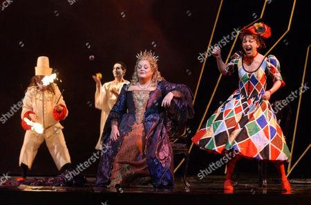 "VOIGT DESSAY Natalie Dessay, right, as Zerbinetta and Deborah Voigt as Ariadne perform during a dress rehearsal of Richard Strauss's opera ""Ariadne auf Naxos"" at the Metropolitan Opera House, in New York. (AP Photo"