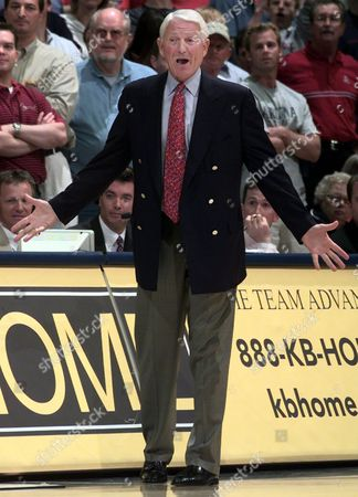 COACH LUTE OLSON Arizona's head coach Lute Olson reacts to a call made by the officials in the game against Oregon in second half in McKale Center in Tucson, Ariz., on . Arizona won, 88-80