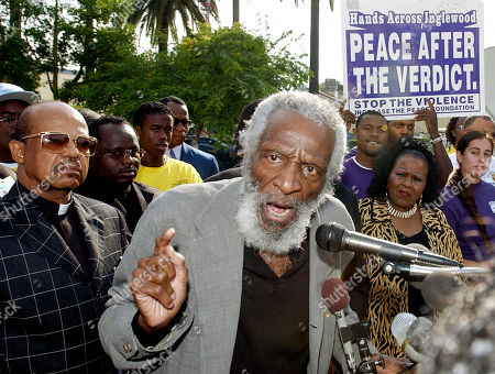 GREGORY Veteran comedian and activist Dick Gregory talks to those assembled at a Peace Vigil outside City Hall in Inglewood, Calif., . A coalition of religious, political and community leaders urged prayer and calm following the verdict in the case of an Inglewood police officer accused of assault during a videotaped arrest. A judge declared a hung jury Tuesday in the case of former Inglewood officer Jeremy Morse, whose violent arrest of Donovan Jackson at a gas station last July raised racial tensions and brought back memories of the Rodney King beating