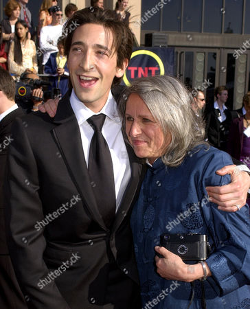 "BRODY PLACY Actor Adrien Brody, left, is joined by his mother, photographer Sylvia Plachy, as he arrives for the 9th annual Screen Actors Guild awards in Los Angeles, . Brody is nominated for his work in the film ""The Pianist"