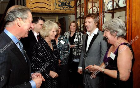 Prince Charles, Camilla, Camilla Duchess of Cornwall, Jamie Oliver and Nora Sands of Kidbrooke Secondary School South East London. Dinnerladies from all over the counrty were invited to Clarence House as thank you for their help in promoting heathly eating for schoolchildren.
