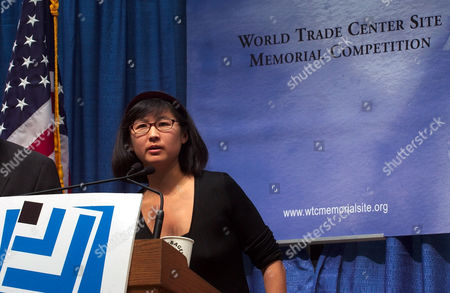 Artist Maya Lin answers questions during a news conference near the World Trade Center site, to announce the start of an international competition to design a memorial in honor of those killed during the Sept. 11 attacks and the 1993 World Trade Center bombing. Lin, who designed the Vietnam Veterans' Memorial in Washington D.C., will be one of a group of jurors in the competition