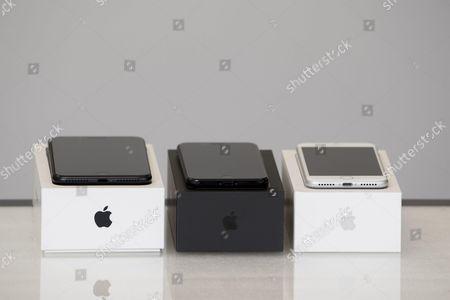 Apple new iPhone 7 Plus Black (L), iPhone 7 Jet Black (C), iPhone 7 Silver (R) at MCS Apple Premium Reseller in Nice, FRANCE