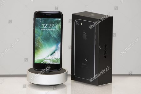 Apple new iPhone 7 Jet Black Apple (View Front, Box) at MCS Apple Premium Reseller in Nice, FRANCE
