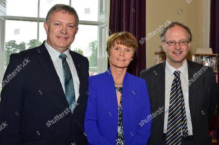 Patsy McGlone, St Jospehs Grammar school Principal Geraldine Donnelly, Education Minister for Northern Ireland Peter Weir