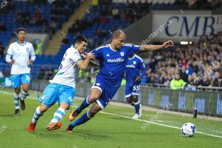 Stock Picture of Marouane Chamakh of Cardiff City and Fernando Forrestieri of Sheffield Wednesday during the EFL Sky Bet Championship match between Cardiff City and Sheffield Wednesday at the Cardiff City Stadium, Cardiff