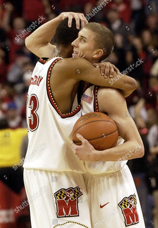 BLAKE MCCRAY Maryland's Steve Blake, right, hugs teammate Chris McCray, left, at the end of the game where Maryland beat No. 1 Duke 87-72, in College Park, Md