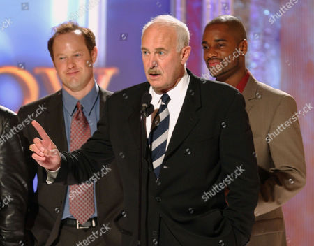 """SBARGE COLEMAN WHITFIELD Actor Dabney Coleman, center, and co-stars Raphael Sbarge, left, and Charles Malik Whitfield, right, accept the award for Best New Series for """"The Guardian"""" at the Family Television Awards, in Beverly Hills, Calif. The ceremony will air Aug. 9 on ABC. The awards, in their fourth year, were initiated by the Family Friendly Programming Forum. The group was formed by more than 40 advertisers to encourage the production of programs aimed at parents and children"""