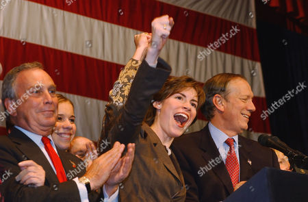 BLOOMBERG PATAKI New York Gov. George Pataki, far right, is joined by his two daughters, Emily, second from right, and Allison, second from left, as New York City Mayor Michael Bloomberg, far left, applauds, during Pataki's victory speech in New York. Pataki beat H. Carl McCall and will go on to a third term as governor of New York