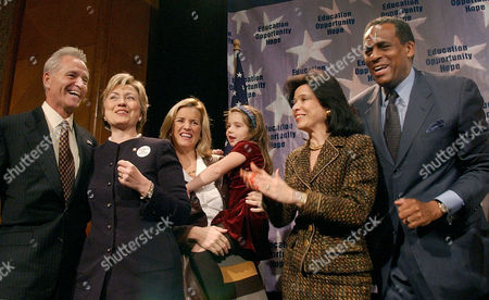 "BROWN New York State Comptroller H. Carl McCall, right, the Democratic candidate for governor, is joined by, from left, running mate Dennis Mehiel; Sen. Hillary Rodham Clinton; Kerry Kennedy Cuomo and her daughter, Michaela; and Joyce Brown, his wife, at a ""Women for McCall"" breakfast in New York . The speeches and atmosphere of the breakfast resembled a victory party and did not hint that McCall was trailing in the polls behind his Republican opponent, Gov. George Pataki"