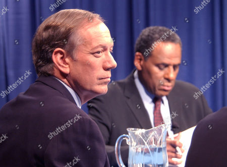 PATAKI MCCALL New York Gov. George Pataki, left, and Democratic gubernatorial candidate H. Carl McCall wait for the start of the second gubernatorial debate at the studios of WTVH in Syracuse, N.Y., on