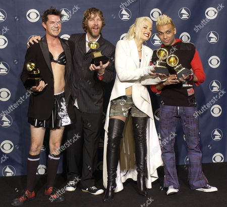 No Doubt holds the Grammy for best pop vocal album at the 45th Annual Grammy Awards, in New York