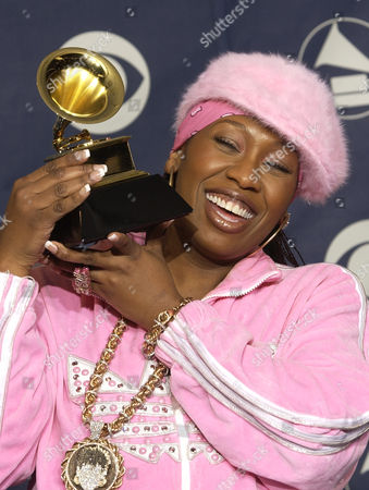 "Missy Elliott holds the Grammy for best female rap solo performance for the song ""Scream a.k.a. Itchin'"" at the 45th Annual Grammy Awards, in New York"