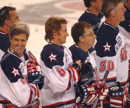 NILAN Celebrity hockey players from left, U.S. Sen John Kerry, D-Mass., actors/comedians Denis Leary and Rick Moranis and former Boston Bruins' Chris Nilan, right, suit up to play a charity game against a team of Boston Bruins all-stars for the Leary Firefighters Foundation in Worcester, Mass., . Leary founded the organization following the death of six Massachusetts firefighters, including his cousin, Jeremiah Lucey, in a December 1999 blaze in Worcester